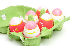 Pink  easter eggs in carton box Stock Images