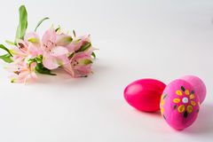 Pink Easter eggs with floral design Stock Photos