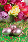 Pink easter eggs with flowers Stock Photos