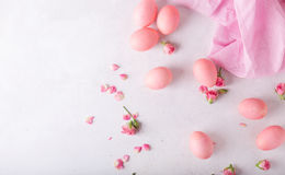 Pink Easter eggs on light background. Copyspace. Still life photo of lots of pink easter eggs.Background with easter eggs. Stock Images