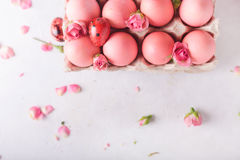 Pink Easter eggs on light background. Copyspace. Still life photo of lots of pink easter eggs.Background with easter eggs. Stock Image