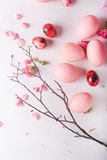 Pink Easter eggs on light background. Copyspace. Still life photo of lots of pink easter eggs.Background with easter eggs. Pink eg Stock Photo