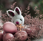 Pink Easter Eggs and little bunny Royalty Free Stock Image