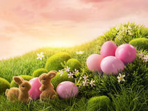 Pink easter eggs and rabbit Stock Images