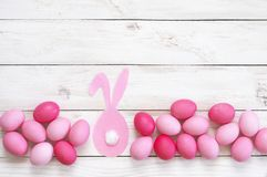 Pink Easter eggs with rabbit Royalty Free Stock Image