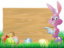 Pink Easter eggs sign Easter bunny Stock Photography