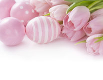Pink easter eggs and tulips Royalty Free Stock Photography