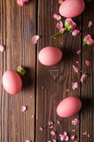 Pink Easter eggs on wodden background. Copyspace. Still life photo of lots of pink easter eggs.Background with easter eggs Royalty Free Stock Photo
