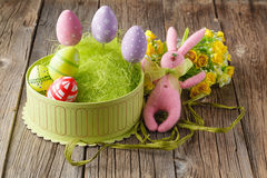 Pink easter rabbit and eggs Stock Photo