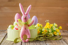 Pink easter rabbit and eggs Stock Photos