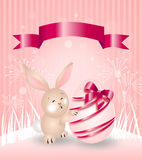 Pink easter rabbit greeting card Stock Photos