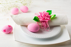 Pink Easter table place setting Royalty Free Stock Images