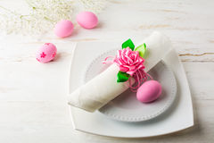 Pink Easter table place setting  top view Royalty Free Stock Photography