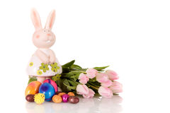 Pink Easter tulips bunny Stock Image