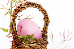 Pink Egg Wicker Basket Stock Photography