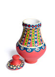 Pink Egyptian handmade decorated colorful pottery vase Kolla. Pink Egyptian decorated colorful pottery vase arabic: Kolla made of clay on white background, one Stock Photography