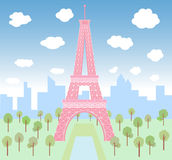 Pink Eiffel in green park Royalty Free Stock Images