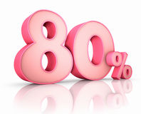 Pink Eighty Percent. Isolated on white background. 80 Royalty Free Stock Images