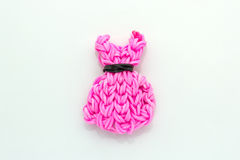 Pink elastic rainbow loom bands dress shaped Stock Images