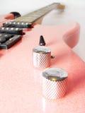 Pink electric guitar stock image