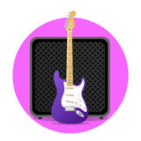 Pink electric guitar with amp Stock Image