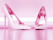 Pink elegant lady shoes Royalty Free Stock Photos