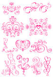 Pink elements of the pattern with hearts Royalty Free Stock Photos