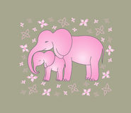 Pink elephant and baby elephant. Illustration of pink elephants on a background with flowers royalty free illustration