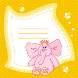 Pink elephant background. An illustration with a pink elephant for an announcement or an invitation Stock Images
