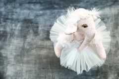 Pink handmade toy elephant ballerinа in white Royalty Free Stock Photography