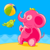 Pink elephant and bird in cartoon style playing ball on the sandy beach. Royalty Free Stock Photos