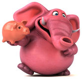 Pink elephant - 3D Illustration Royalty Free Stock Photo