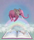Pink elephant and fantasy book in the sky. Illustration Stock Image
