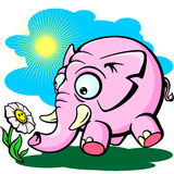 Pink elephant with flower, cute childs drawing Royalty Free Stock Photo