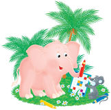 Pink elephant and grey mouse Royalty Free Stock Photo