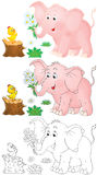 Pink elephant and little chick Royalty Free Stock Photos