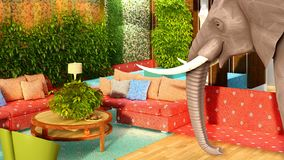 Pink elephant in the living room 3d rendering Royalty Free Stock Photography