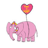 Pink elephant. Original hand drawn cartoon character. Royalty Free Stock Photography