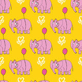 Pink elephant. Original hand drawn cartoon character. Royalty Free Stock Photo