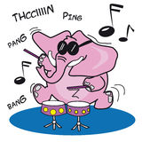 Pink Elephant Playing Drums Royalty Free Stock Photography