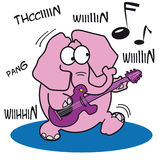 Pink Elephant Playing a Rock Guitar Royalty Free Stock Photos