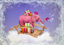 Pink elephant in the sky with Christmas boxes. Illustration vector illustration