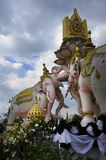 Pink elephant statue next to Grand Palace in Bangkok Thailand as religion culture Asia buddhist symbol Stock Photo