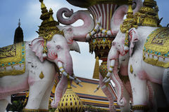 Pink elephant statue next to Grand Palace in Bangkok Thailand as religion culture Asia buddhist symbol Stock Photos