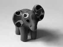 PINK ELEPHANT TOY. BLACK AND WHITE PHOTO OF PINK ELEPHANT TOY royalty free stock photography