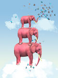 Pink elephants in the clouds with butterflies. Illustration Royalty Free Stock Photos