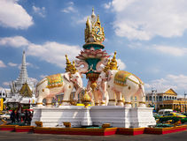 Pink elephants statue near Emerald Buddha temple in Bangkok, Wat Phra Kaew. stock photo