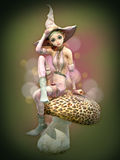 Pink Elf on a Mushroom, 3d CG. 3d computer graphics of an elf with witch hat sitting on a mushroom Royalty Free Stock Photo