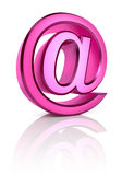 Pink Email Symbol. Isolated on white background. 3d rendering Stock Photos