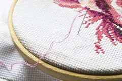 Pink embroidery on hoop Royalty Free Stock Images